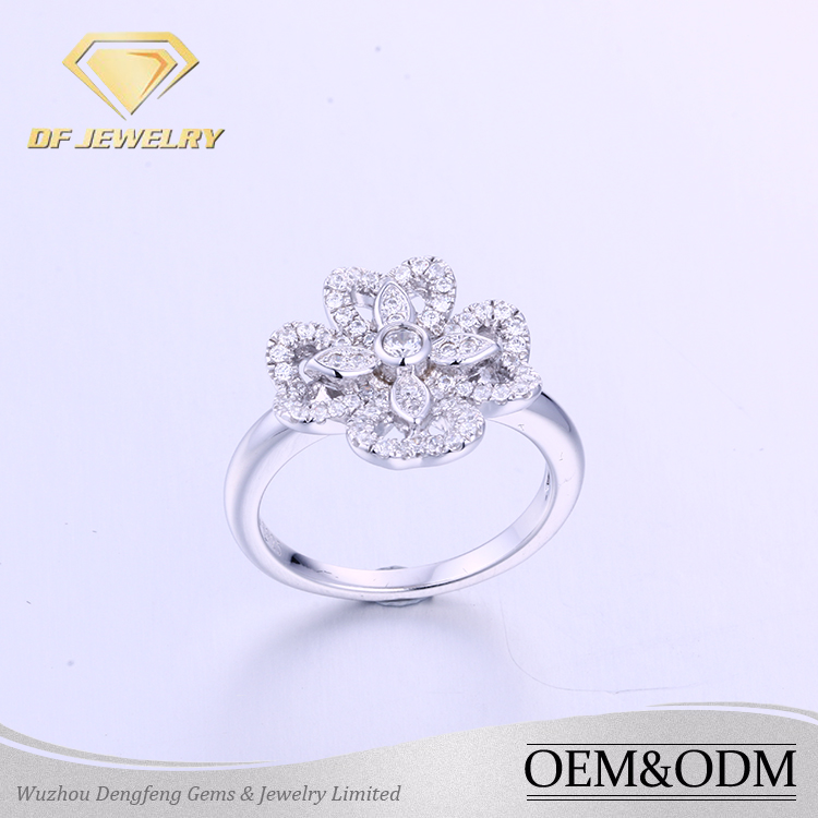 New Luxury AAA Clear Cubic ZIrconia Elegant Big Flower Women Bridal Engagement Wedding Rings