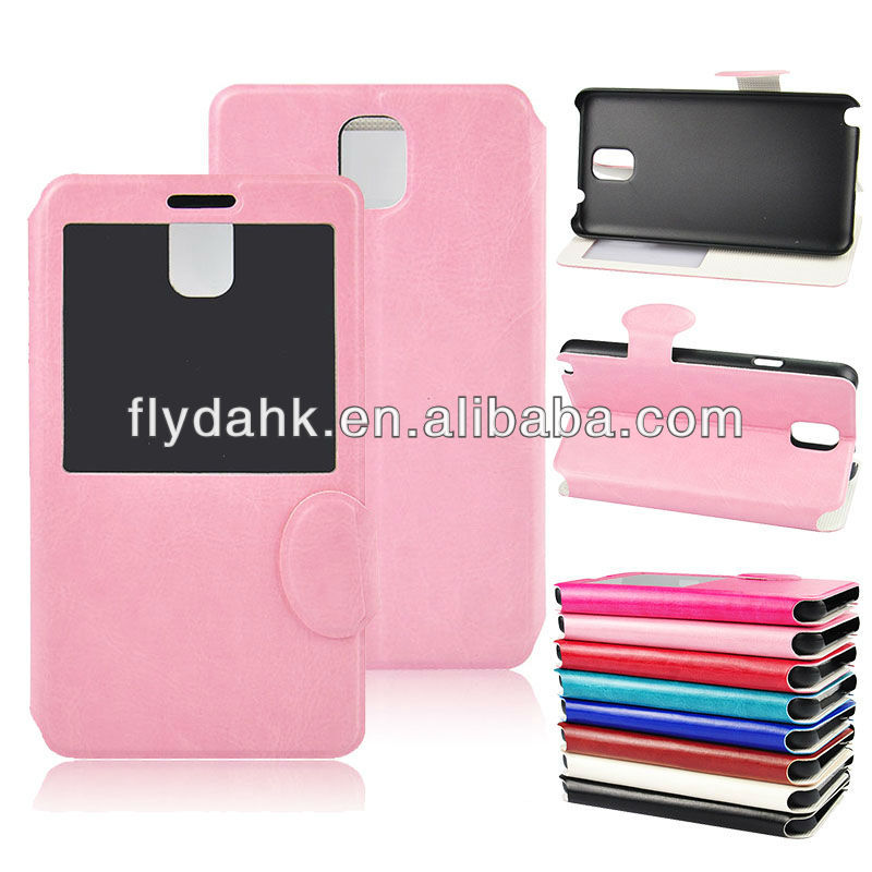 Stand leather case for samsung galaxy Note 3 N9000 with view window