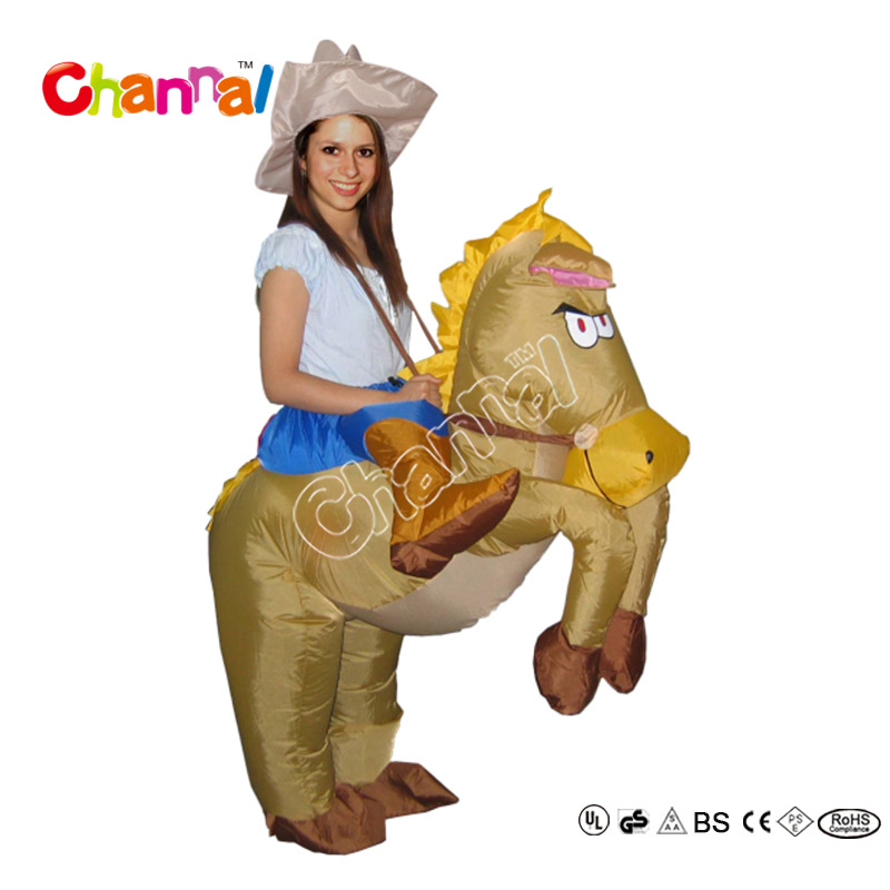Cheap Wholesale Halloween Inflatable Horse Riding Costume For Adults And Kids
