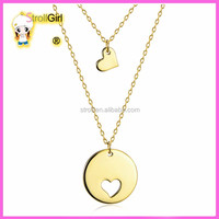 14K Yellow gold heart necklace 925 silver Disc Charm Pendant