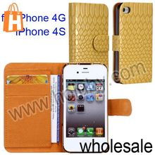 Snake Skin Electroplate Magnetic Cover Flip Leather Case for iPhone 4S 4G with Card Slots (5 Colors Optional)