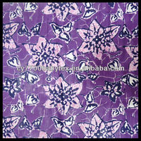 Purple Flowers Traditional Indonesian Bali 100% Cotton Batik Fabric
