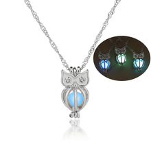 Fashion glow dark owl necklace for women wholesale N800253