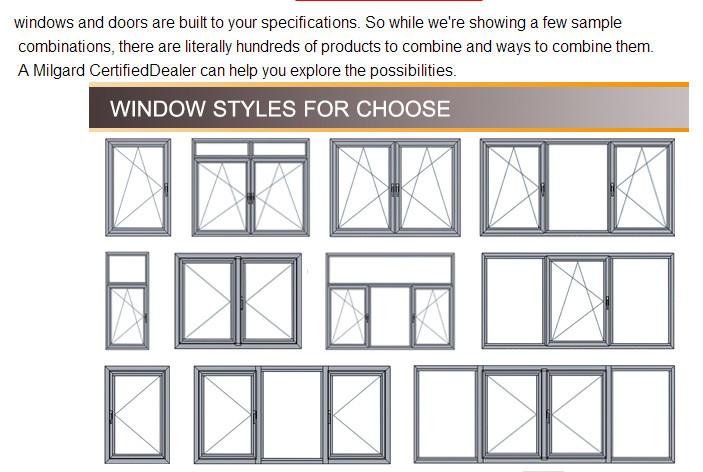 3 panel triple pvc casement window aluminum alloy window for Bathroom window styles