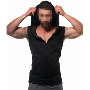 2018 hot sale 100% cotton zipper-up mens sleeveless hoodie