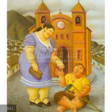 Handmade Fernando Botero fat figure oil painting, The Charity 1996