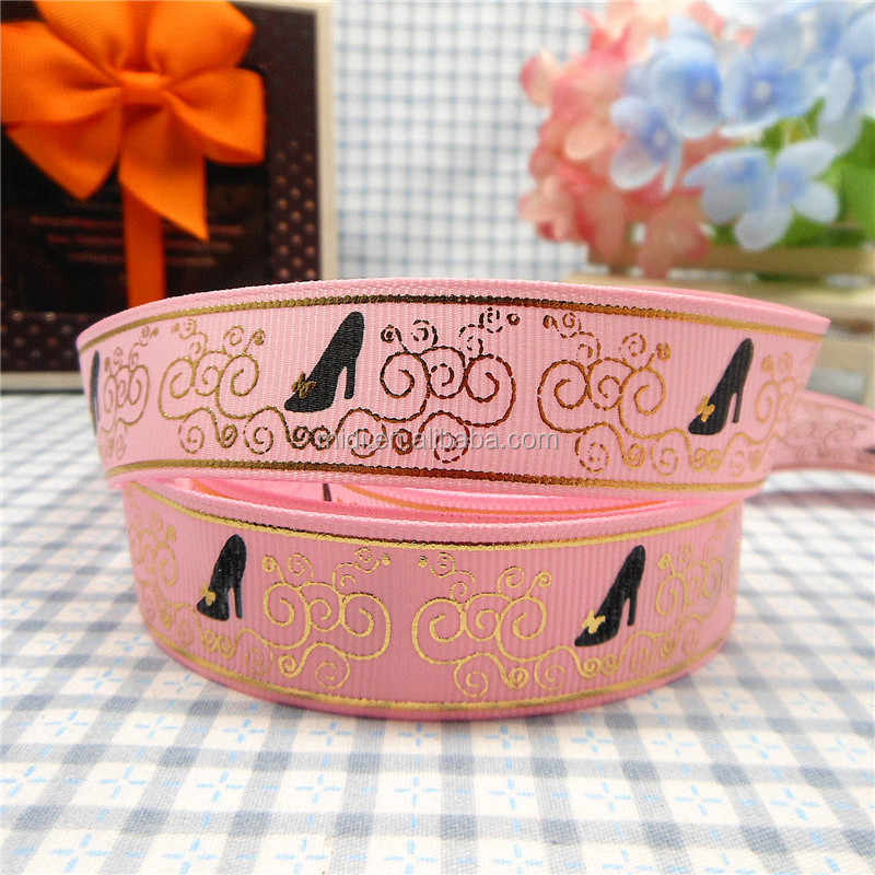 Luxury Elegant Gold Foil Printed Grosgrain Gift Wrapping Ribbon 7/8''