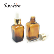 Essential oil luxury square glass dropper bottle