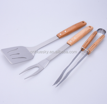 Hot sell 3-Piece BBQ Grill Tools Set with Wooden Handle