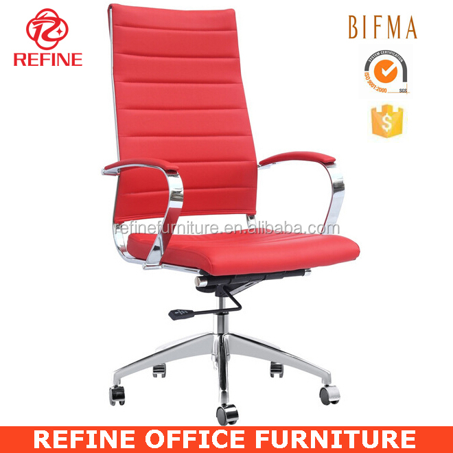 2015 New Design High Back Office Chair In Leather Chair Chrome Frame RF  S090G