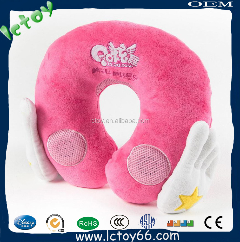 embroidery logo pink neck pillow with music play