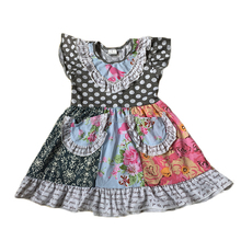 Yawoo polka dots flutter sleeve patchwork cotton girls one-piece dress fashion dresses for 2-8 years girl
