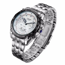 Kasio style stainless steel band quartz wrist watch
