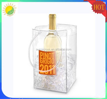 Clear Transparent PVC Champagne Wine Pouch Cooler Bag with Handle