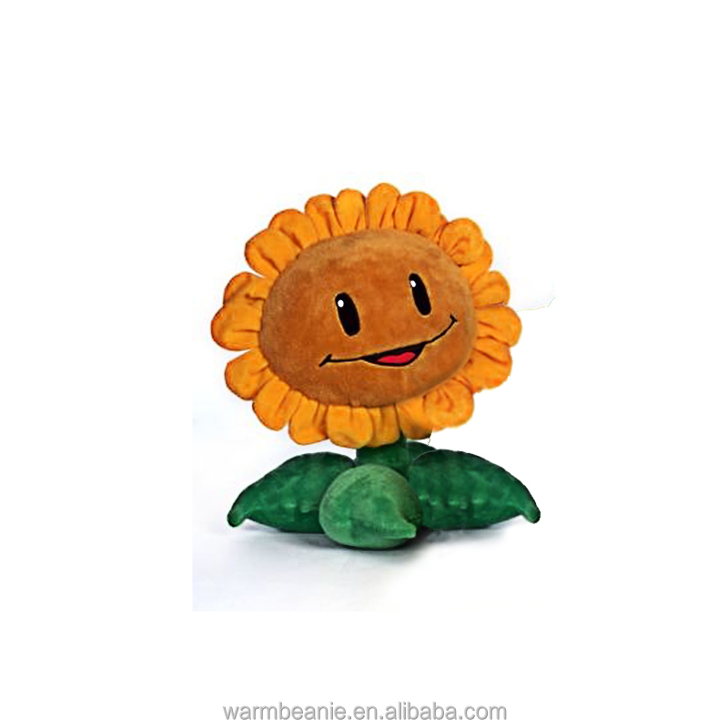Best price high quality cute soft yellow flowers green leaves stuffed plush smiling sun flower toys plush botany toys