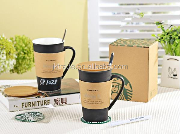 New Writeable Ceramic Coffee Starbucks Mug With Spoon , lid and Pad