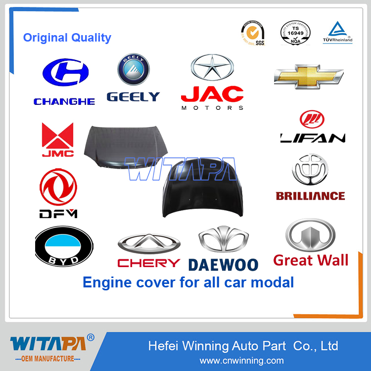 Chinese original quality auto spare parts engine cover and engine hood by manufacture for all car modal