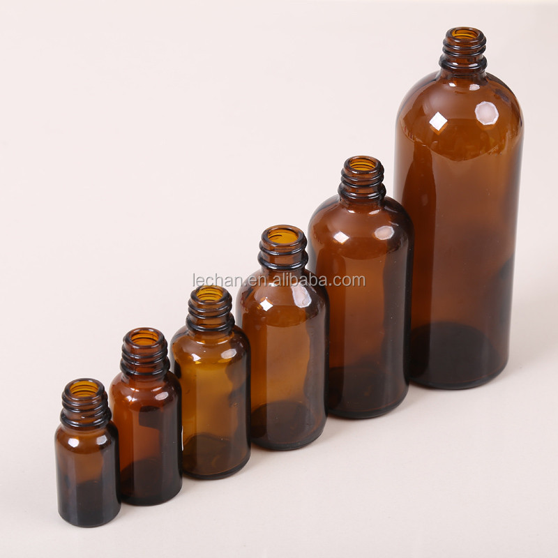 100ml 200ml Amber Glass Bottle With Dropper aluminum silver gold black screw cap