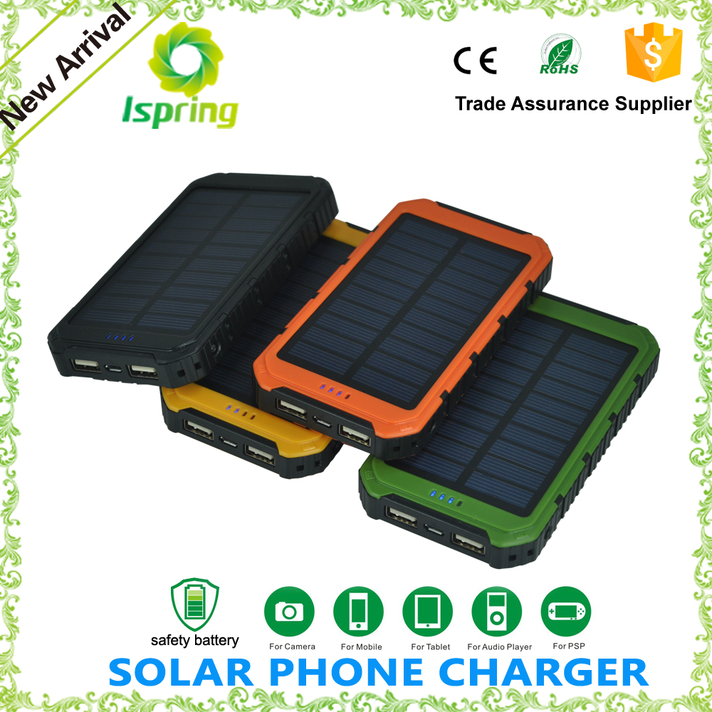 Waterproof solar power bank Charger 8000mah, Solar Mobile phone Charger 5V 2A