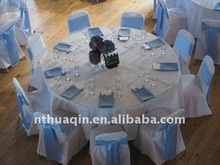 Round top polyester banquet chair cover with satin sash