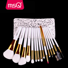 US freeshipping 15pcs makeup brush set synthetic hair PU leather bag wholesale makeup brush