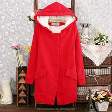 Monroo Latest Design Women Clothes Long Sleeve Winter Coat Red Hooded Women Coat 2015