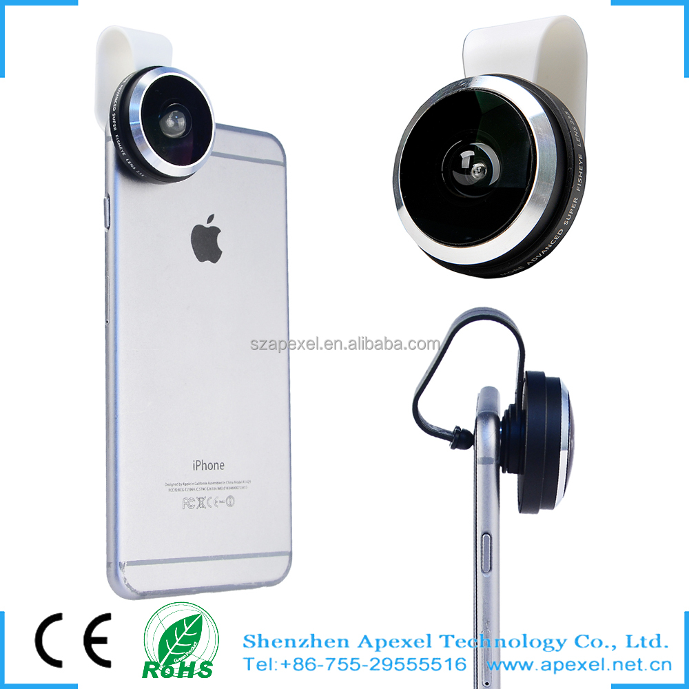 Apexel 2016 innovative camera phone lens Arc clip 235 degree super fisheye lens for Iphone/Samsung/HTC