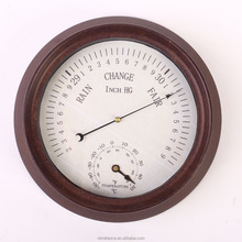Gift 8inch Rustic Style Aneroid Mechanical Garden Barometer Thermometer Weather Forecast Station Clock