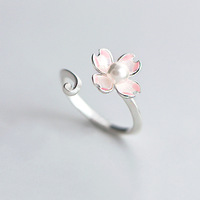 925 sterling silver open pink flower pearl ring