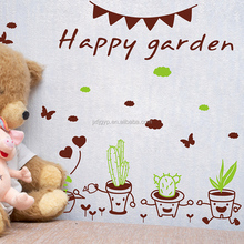 Hot sales creative removable potted plant chick design wall and window stickers for decoration