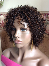 Hand made Kinky Twist braided lace Afro-twist Human Curly Full Wig