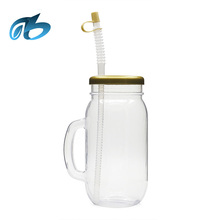 New product 2017 Top Quality plastic drinking beach yard glass mason jar with handle