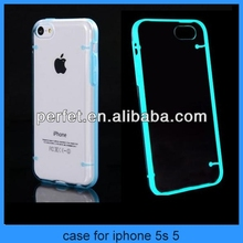 For iPhone 5s Glowing case Transparent Rugged Glossy PC Hard Back with TPU Gel Edge Clear Hard Case (PT-I5258)