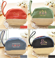 2015 hotselling linen fabric purses fashion design korean cute coins purse