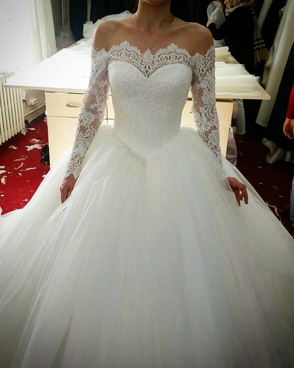 Ne150 Robe De Mariage Elegant White Lace Ball Gown Wedding Dresses ...