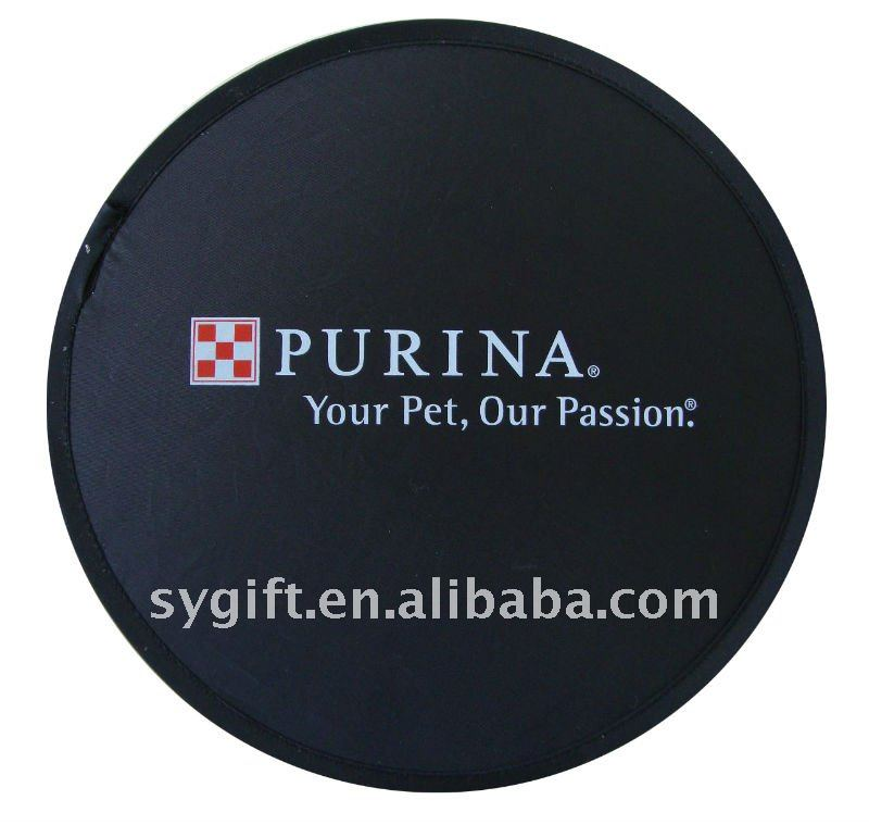 Promotion nylon fabric foldable dog toys soft frisbee