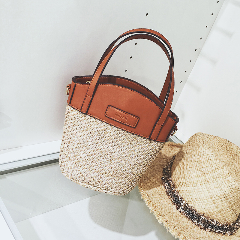 X62806A Vintage Women Shopping Beach Bag Casual Bucket Straw Tote Bag