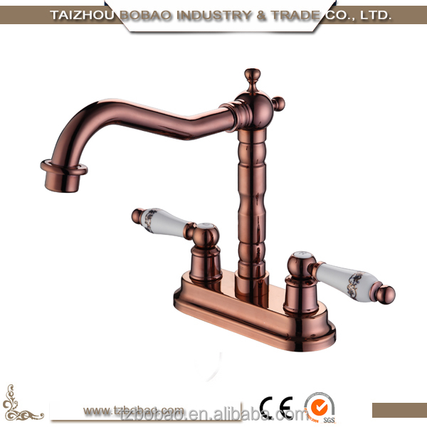 Most popular wall mounted double handles upc antique brass for Most popular kitchen faucet