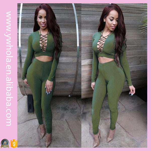 Customized Women Long Sleeve Lace Up Two Pieces Set Sexy Clubwear