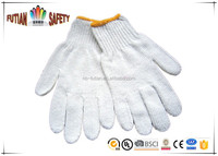FTSAFETY 7 Gauges Bleach white Poly-Cotton Knitted safety working Gloves for Hand Protection
