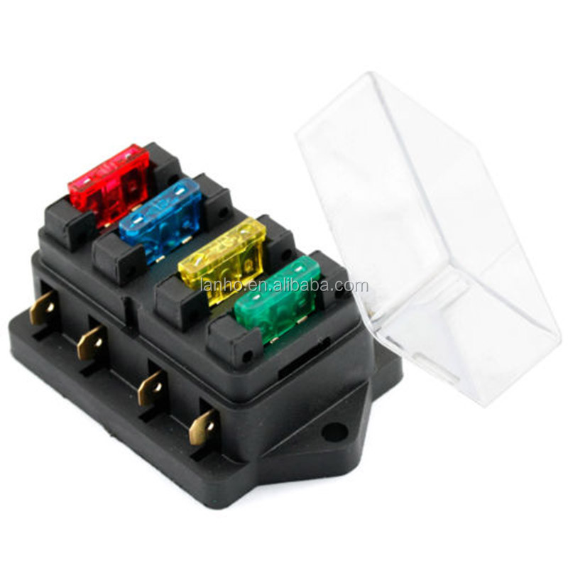 High Quality 12V/24V 4 Way Car Truck Auto Blade Fuse Box Holder Circuit Standard ATO +4X Fuse