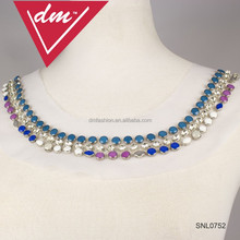 2015 fashion rhinestone for women Crystal lady dress cutting neck collar