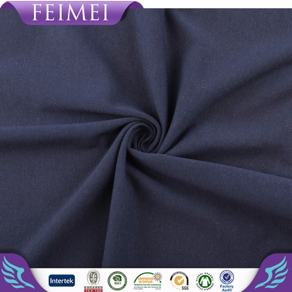 2015 Feimei newest 57% cotton 38% poly 5% span cvc/sp single jersey fabric wholesale