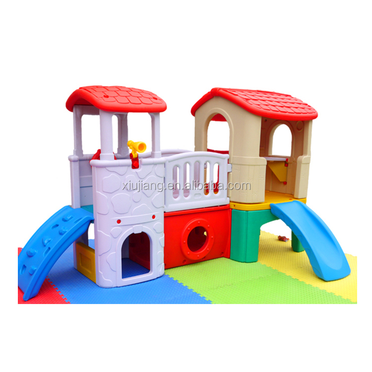Kindergarten gymnastic systems children game center plastic play house with slide