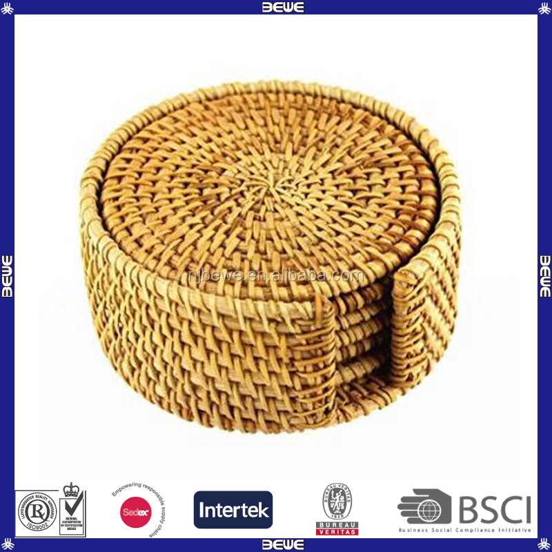 Best Price China Wholesale Hand-Woven Rattan Different Size Round Coasters