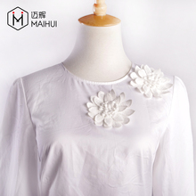 Ladies Summer Casual White Blouse & Top Women Flower Cotton Blouses