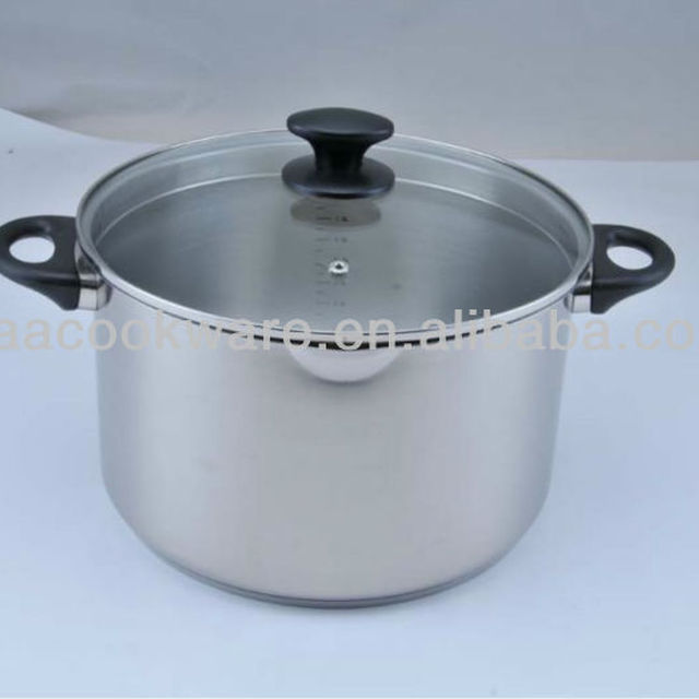 18/8 Stainless Steel High Casserole with pouring hole design glass lid