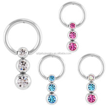 CZ Triple Dangle Eternity Captive Bead Ring 316L surgical steel eyebrow piercing ring Body Piercing Jewelry