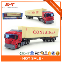 Best selling 1 48 free wheel diecast container truck model for kids