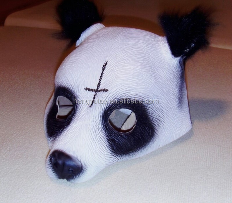 New Designed Panda Mask Cap Style Fancy Dress Rubber Latex CRO Panda Mask for Panda Movie Singing